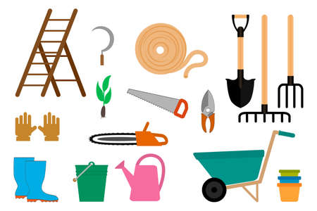 Illustration for Gardening equipment icon isolated on white. Garden symbol. Vector stock illustration. EPS 10 - Royalty Free Image