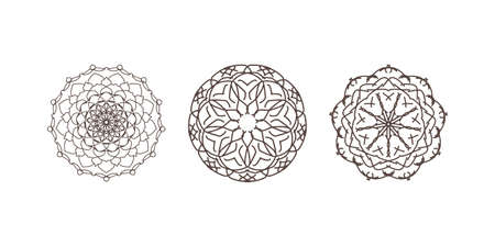 Illustration pour Outline sacred symbol. Coloring mandala. Vector energy star. Intersection of lines. Golden Section. Crossing lines. Intersection circles. - image libre de droit
