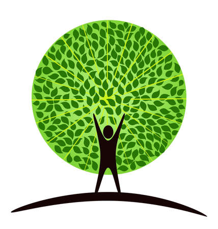 Illustration for Stylized tree with person in its basis. Illustration symbolizes the unity of Human and Nature - Royalty Free Image