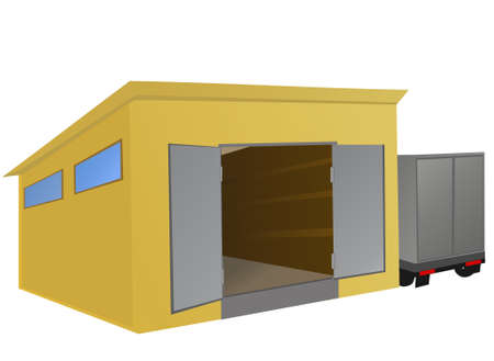 Warehouse with a truck parked beside.  illustration