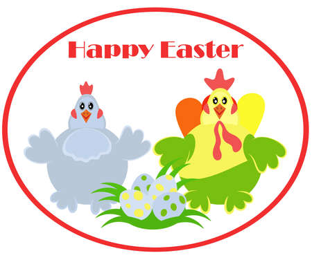 Chicken family. Cheerful characters symbolizes happy Easter. Vector illustration for postcard and greetings