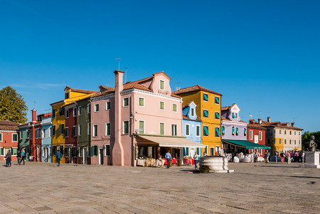 BURANO, ITALY CIRCA SEPTEMBER 2015: Burano is an island in the Venice lagoon known for its typical brightly colored houses and the centuries-old craftsmanship needle lace of Burano.