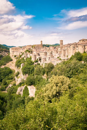 Panorama of Sorano, a town built on a tuff rock, one of the most beautiful villages in Italy.