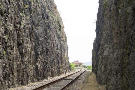 Railway dug into the rocks n the mountain in Bulgaria, Europe