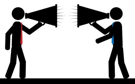 Illustration pour illustration  Two men are  shouting to each other  - image libre de droit