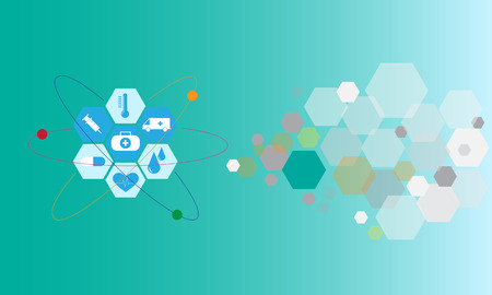 Healthcare technology graphic design flat icons in paragon shape