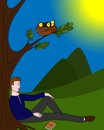 Man sitting relaxed under a tree; a nest with Chicks; vector illustration.
