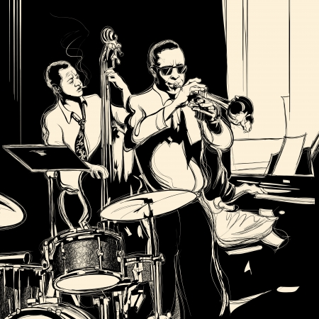 Vector illustration of a Jazz band with double-bass - trumpet -piano and drum