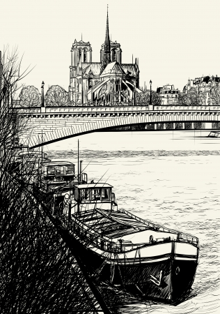 Vector illustration of Paris- Seine River with barges - Ile de la Cite and Notre-Dame (hand