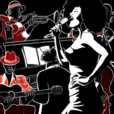 Vector illustration of a Jazz band with double-bass - trumpet -piano