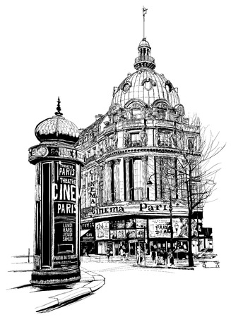 View of Paris at the \grand boulevard\ - vector illustration