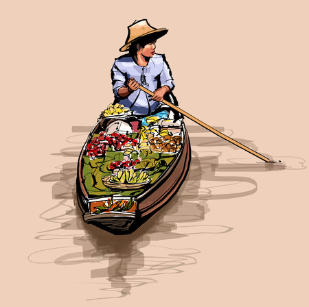 Boat in a floating market in Thailand - vector illustration