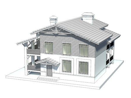 Design of the chalet style cottage with tiled roof