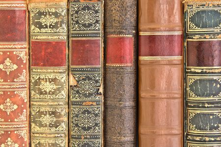 Old leather bound book spines