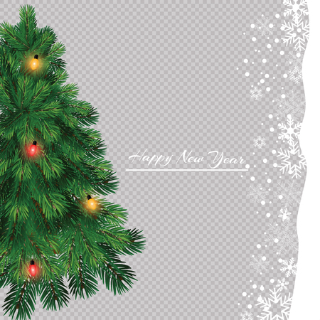 Illustration pour Christmas tree with beautiful lights. Branch isolated. Vector illustration on beautiful background. - image libre de droit