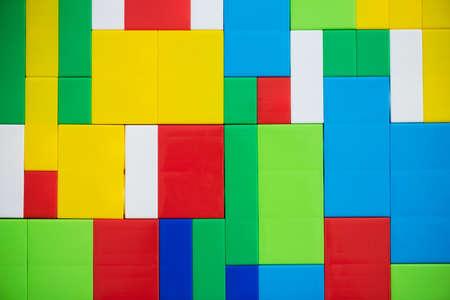 Photo pour Children building kit abstract flat lay background. - image libre de droit