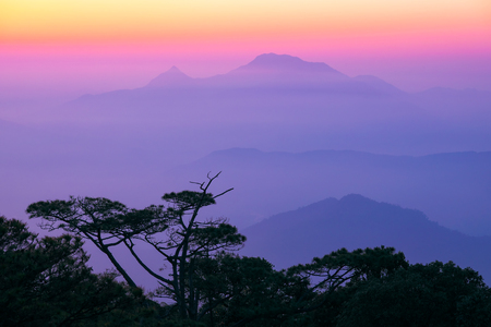 Mountain landscape at sunset. Ba Na Hills, Da Nang, Vietnam.