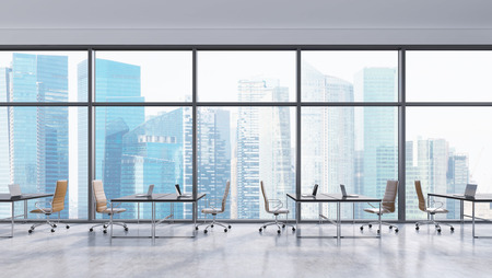 Workplaces in a modern panoramic office, Singapore city view. Open space. Black tables and brown leather chairs. A concept of financial consulting services. 3D rendering.