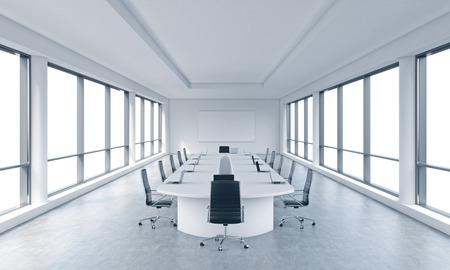 A bright modern panoramic meeting room in a modern office with white copy space in windows. The concept of the meeting of the Board of Director of the huge transnational corporation. 3D rendering.