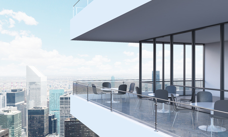 A terrace with tables and chairs in a modern panoramic building. 3D rendering. New York panoramic view on the background.