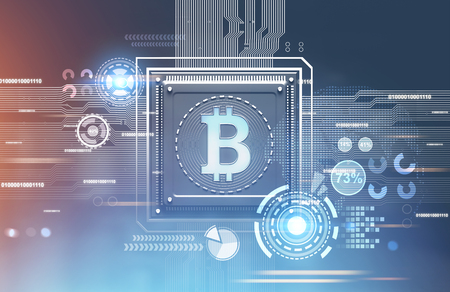 Abstract blue red background with a processor on it. Concept of modern technologies and information. A bitcoin symbol, HUD 3d rendering mock up toned image