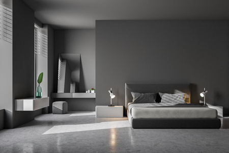 Luxury bedroom interior with gray walls, a concrete floor and a king size bed. Scandinavian style. 3d rendering mock up
