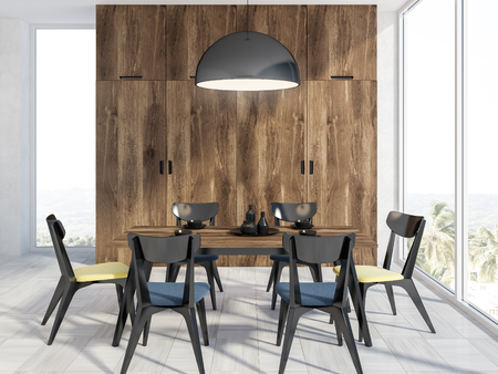 Panoramic dining room interior with wooden walls, a white wooden floor, and a wooden table with black chairs. 3d rendering mock up