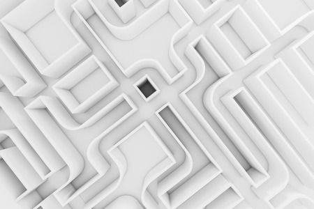 Top view of a white wall maze with no visible exit. Concept of choice and challenge in business and life. 3d rendering mock up