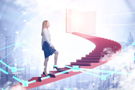Foto de Young woman in suit climbing staircase in sky leading to large book. Cityscape below her. Planet hologram. Concept of knowledge and education. Toned image double exposure - Imagen libre de derechos