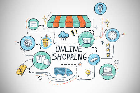 Photo pour Bright online shopping sketch drawn on concrete wall background. Concept of e commerce. 3d rendering - image libre de droit