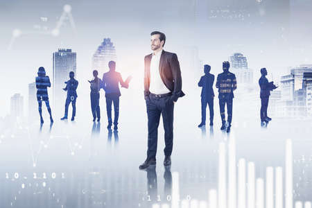 Photo for Portrait of confident young businessman and his team in blurry city with double exposure of graphs. Toned image - Royalty Free Image