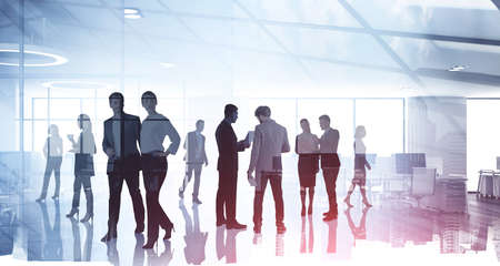Photo for Silhouettes of diverse business people working together, toned image of office interior and skyscrapers. Concept of modern office with managers, partners - Royalty Free Image