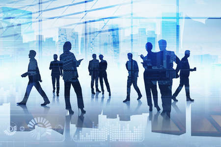 Foto de Group of business people working together over digital interface. Concept of teamwork, cooperation and network in international hi tech business. Office with New York panoramic cityscape - Imagen libre de derechos