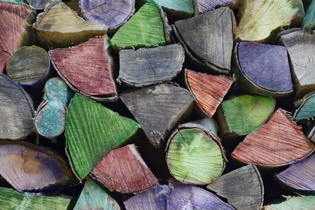 Firewood colorfully worked