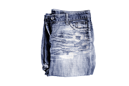 denim  jeans. jeans folded isolated on white background.