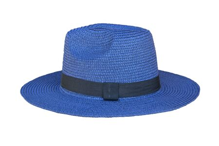 Photo pour Vintage pretty straw hat isolated on white background. Beside view. - image libre de droit