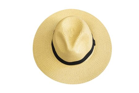 Photo pour Top view vintage pretty straw hat isolated on white background - image libre de droit