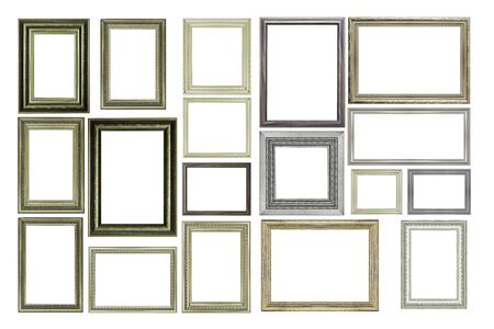 Photo pour Set of Vintage silver and wood picture frame, isolated on white - image libre de droit