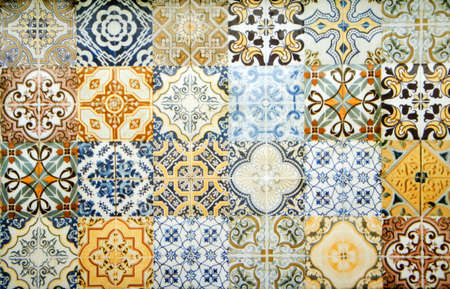 Photo for Vintage ceramic tiles wall decoration.Turkish ceramic tiles wall background - Royalty Free Image