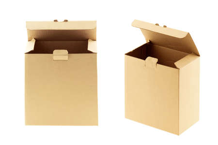 Photo for brown carton box open isolated on white background - Royalty Free Image