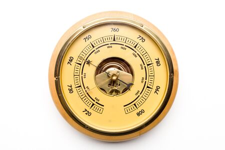 Photo pour Vintage style barometer isolated on white wall background - image - image libre de droit