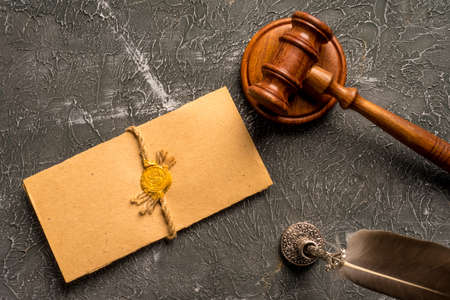 Photo pour Notary public, attorney. Law concept with stamp in courtroom. law judge contract court legal trust legacy stamp. - image libre de droit