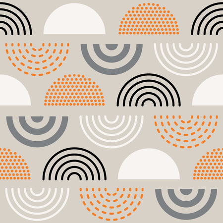 Illustration for Vector seamless mid century absctract geometric pattern. Retro design. - Royalty Free Image