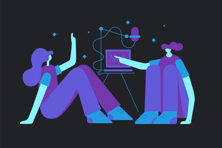 Illustration pour Making Podcast Flat Concept Illustration - image libre de droit
