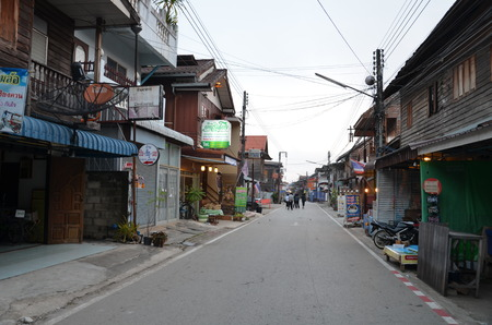 Si Chiang Khan Street , Street filled with old wooden houses homestay accommodation, restaurants and chic shops.