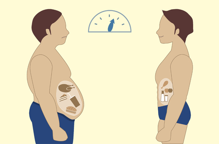Ilustración de Before and after of man nutrition and exercise changes,Vector illustrations - Imagen libre de derechos