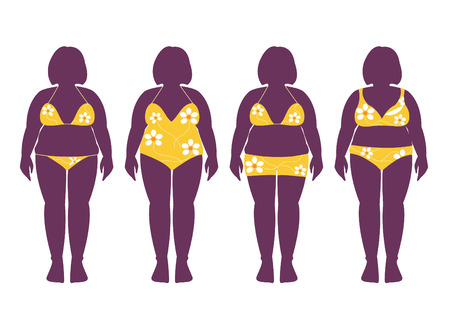 Collection of silhouettes of fat woman in bathing suits illustrations
