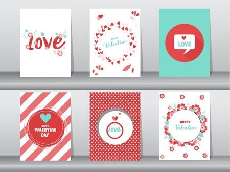 Illustration for Set of Valentine's day card, love, cute vector, Vector illustrations - Royalty Free Image