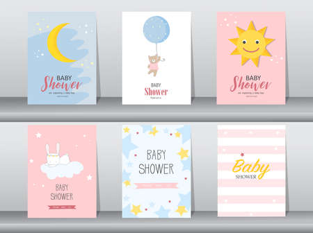 Illustration for Set of baby shower invitations cards,poster,greeting,template,animal,Vector illustrations - Royalty Free Image