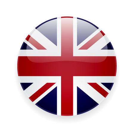 Illustration pour Round glossy icon with national flag of the UK on white background - image libre de droit